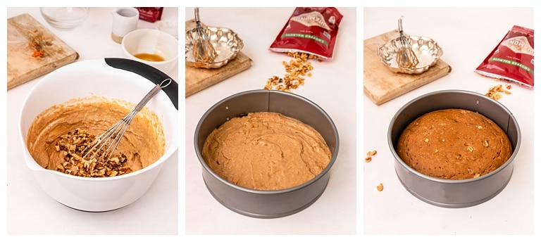 steps to make and bake a carrot walnut cake in a springform pan