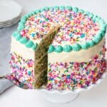 funfetti layer cake with sprinkles getting a slice taken out
