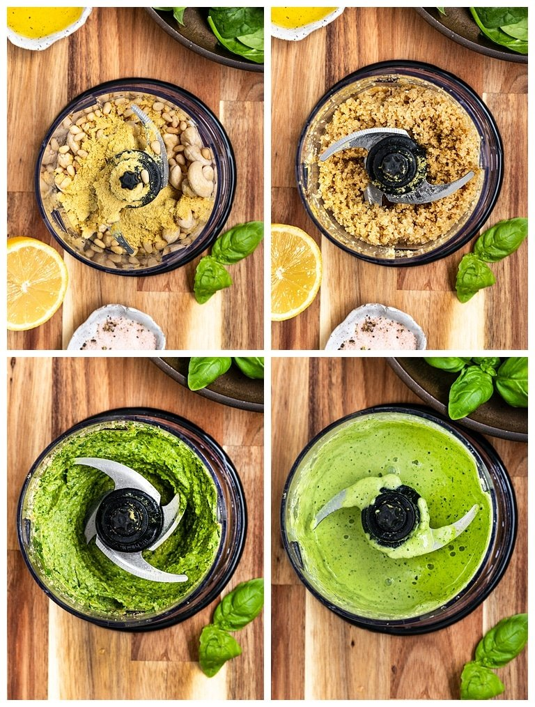 vegan pesto being made in a food processor