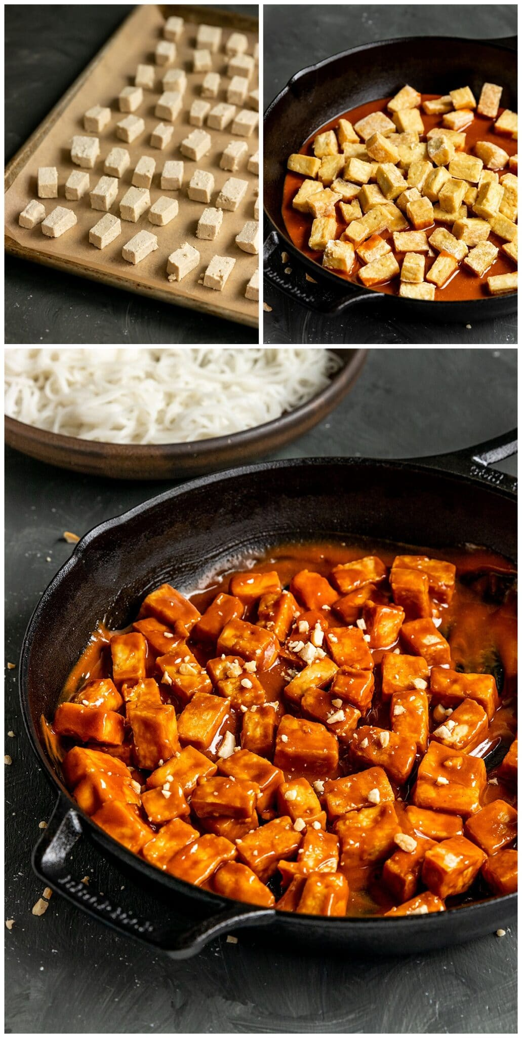 baked tofu getting mixed with peanut sauce in cast iron skillet