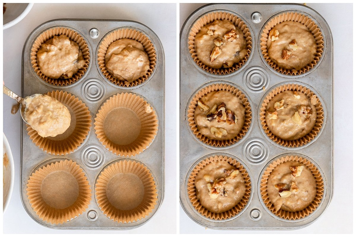 muffin tin getting filled with batter