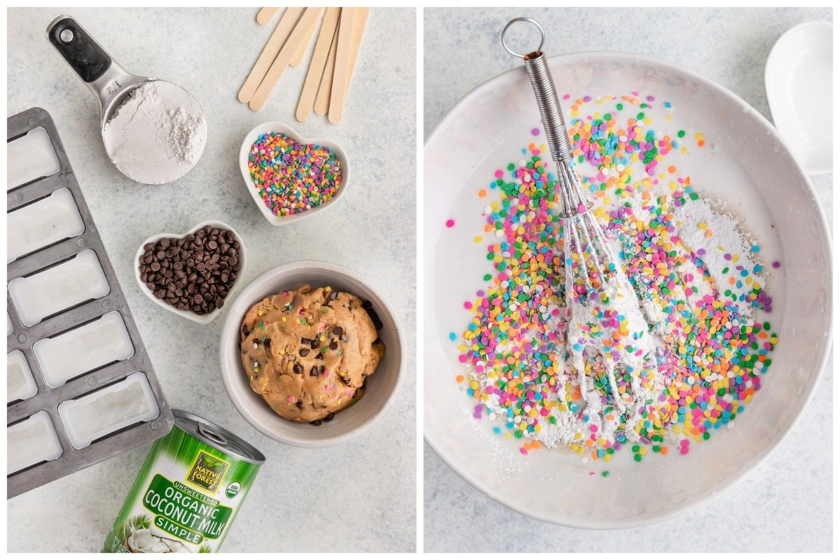 cookie dough popsicle ingredients like coconut milk, sprinkles, chocolate chips, and powdered sugar