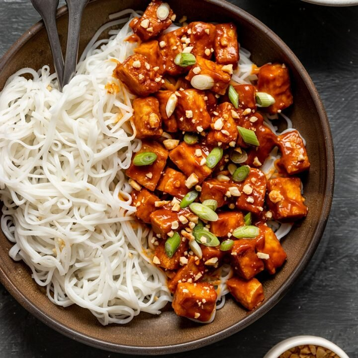 a bowl of peanut butter tofu, rice noodles, peanuts, and scallions