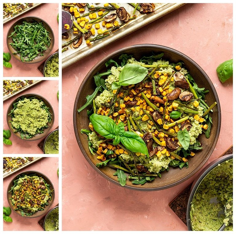 steps to make a quinoa pesto bowl with roasted veggies and basil