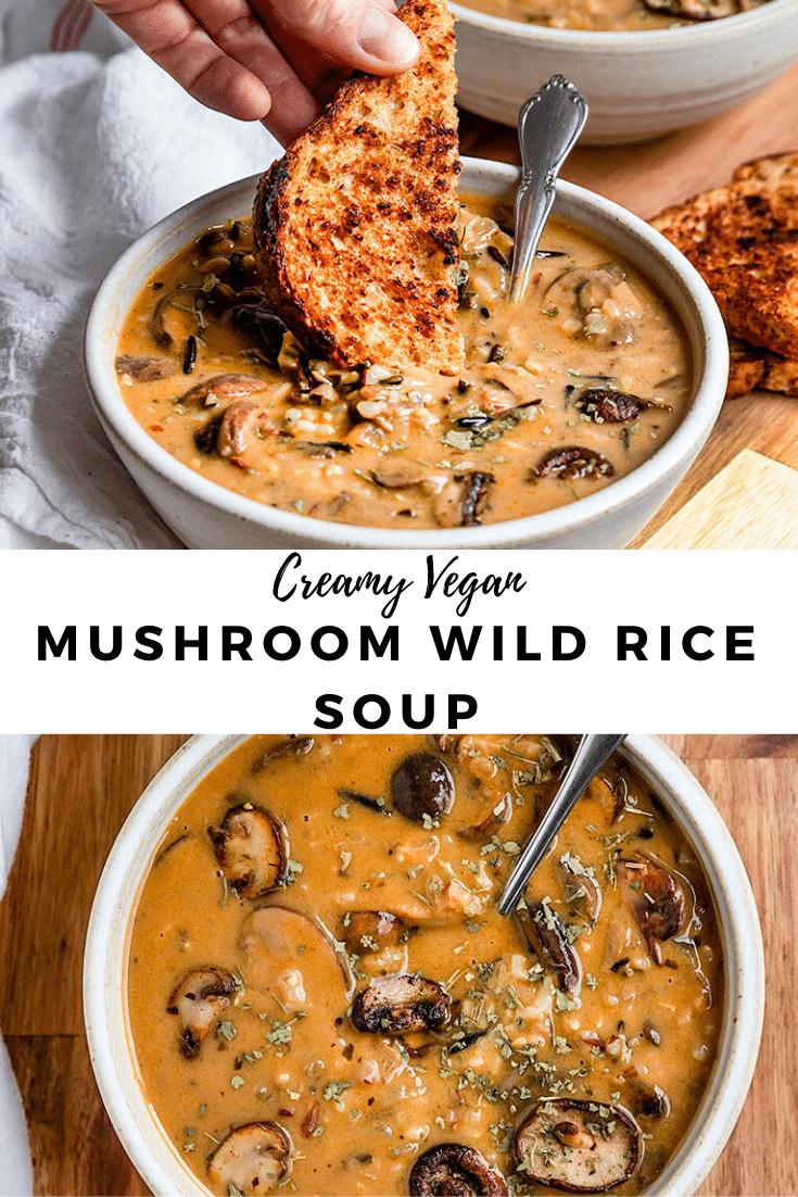 creamy vegan wild mushroom rice soup