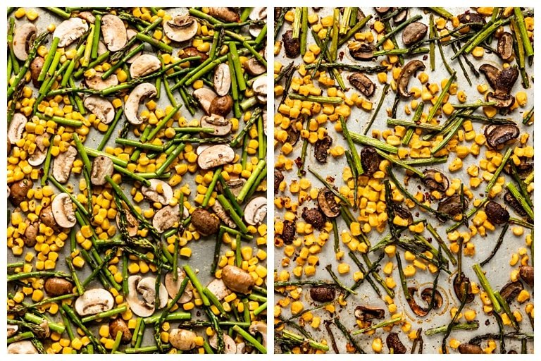 roasted mushrooms, corn, and asparagus