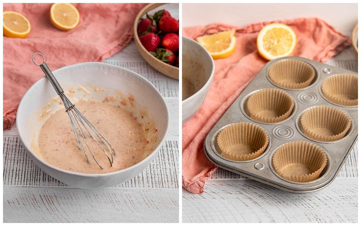 strawberry lemon cupcake batter and muffin liners