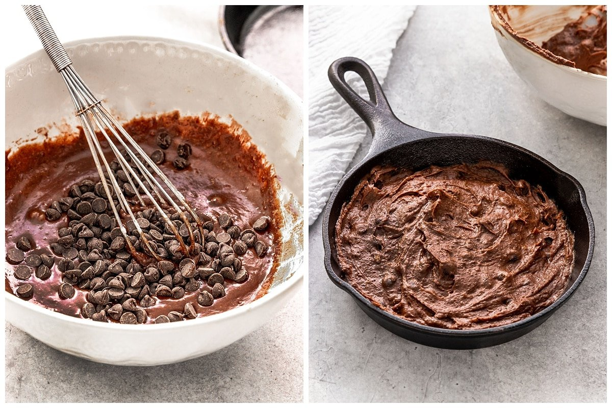 brownie batter in mixing bowl and mini skillet
