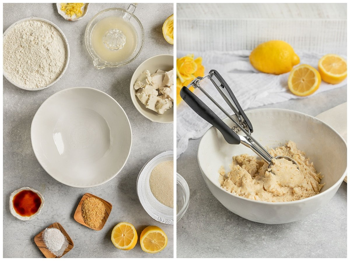 lemon sugar cooke ingredients and sugar cookie dough
