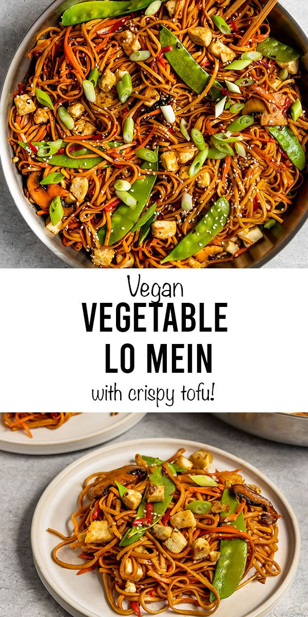 vegan vegetable lo mein with crispy tofu