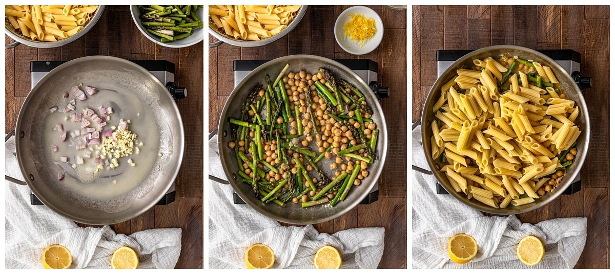 three pictures of making lemon asparagus sauce with penne in a pan