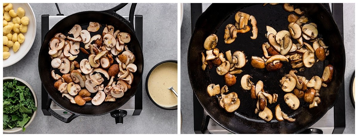 cooking crispy mushrooms in skillet pan