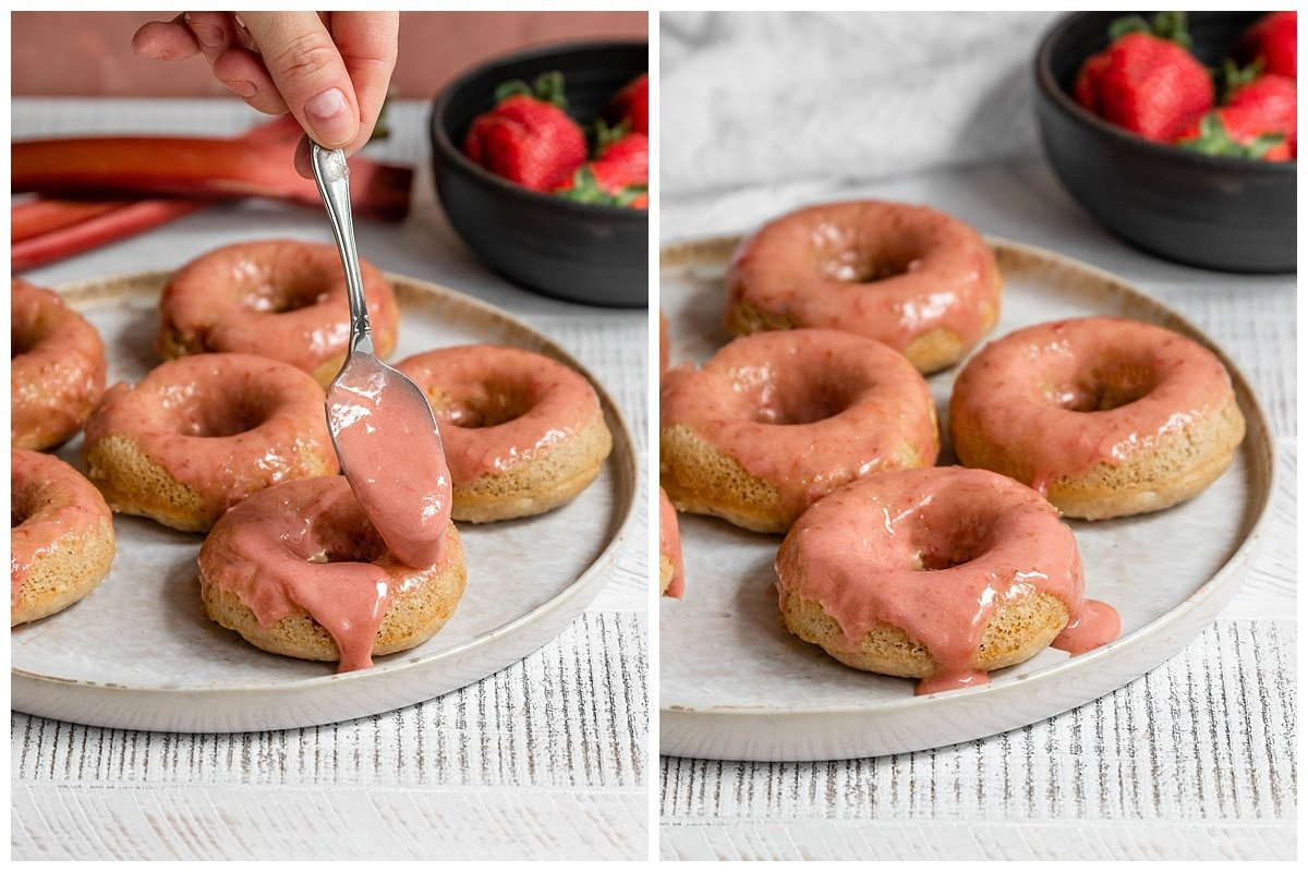 pouring strawberry rhubarb pink glaze onto donuts on a plate