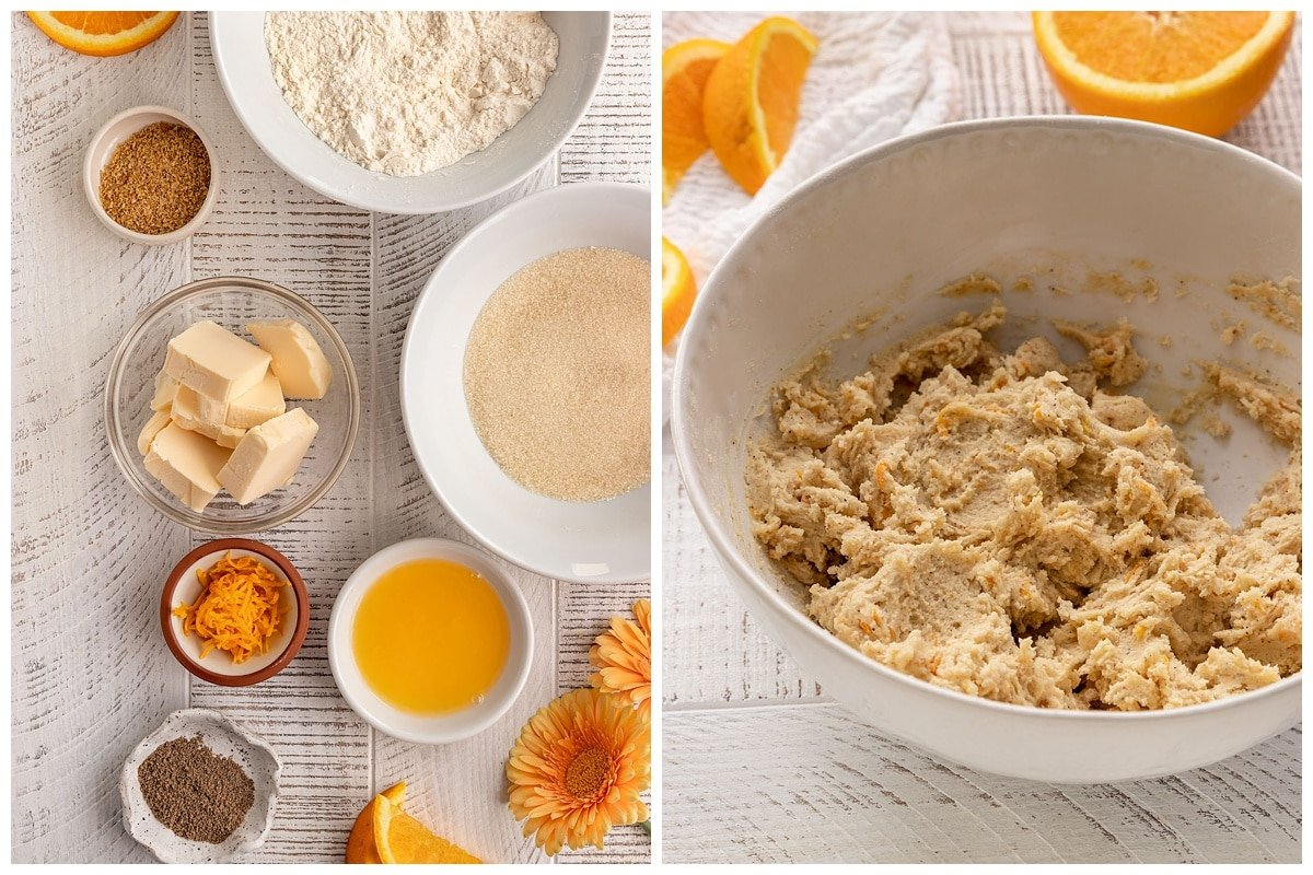 two pictures of orange cardamom cookie dough ingredients and cookie dough in a bowl