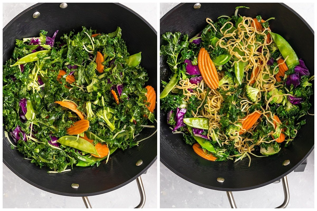 vegetables and noodles being cooked in a wok pan