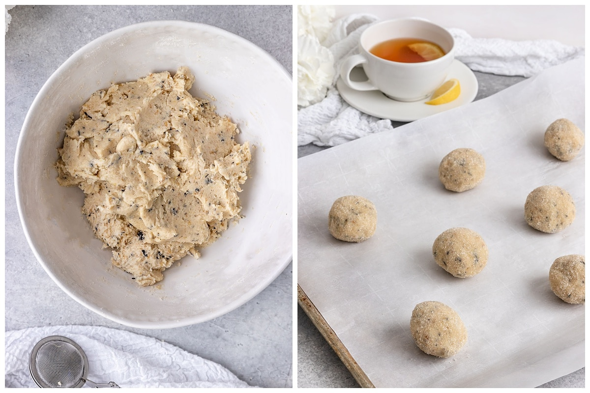 two pictures of earl grey sugar cookie dough in a bowl and in cookie dough balls on tray before baking