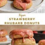 baked vegan strawberry rhubarb donuts