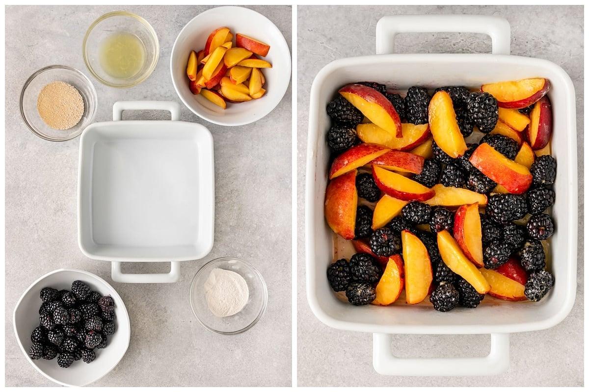 two pictures of peach blackberry cobbler filling ingredients like blackberries, peaches, lemon juice, arrowroot powder, and maple sugar