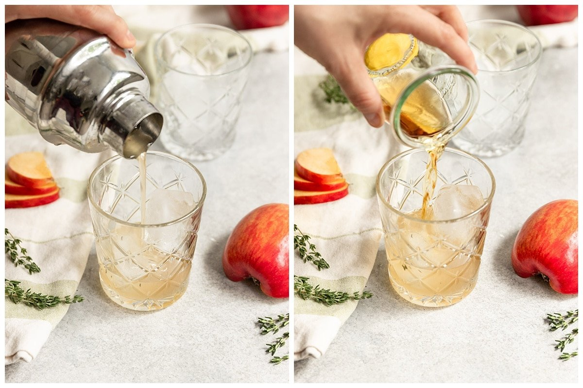 two pictures of glass getting poured with apple thyme simple syrup and bourbon