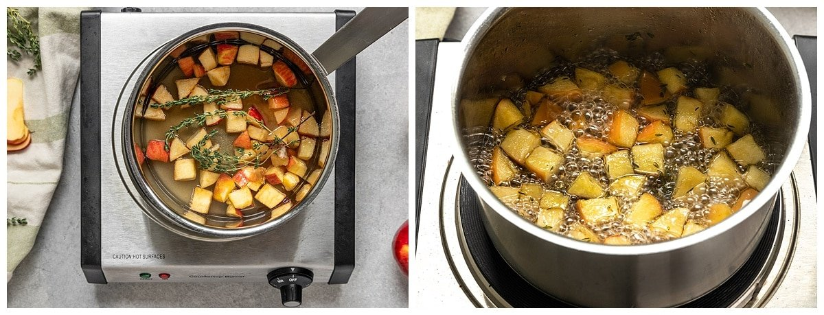 two pictures of apples and thyme in pot being cooked into simple syrup