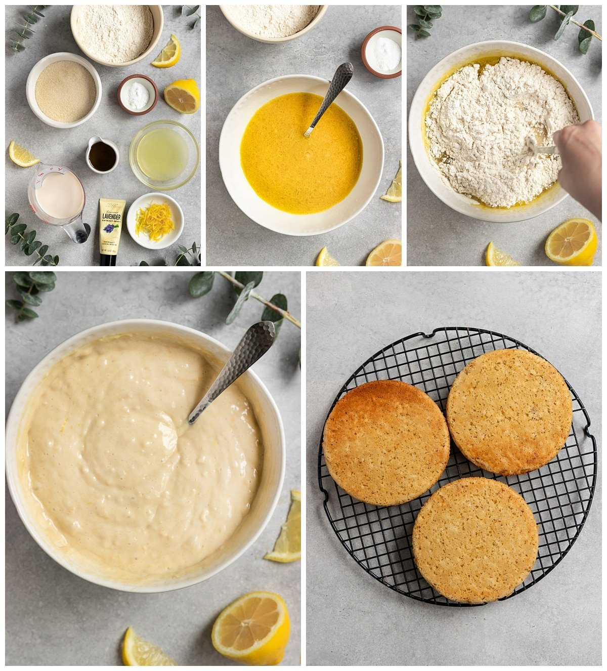five pictures making lemon lavender cake including ingredients, making cake batter, and finished cakes on wire rack