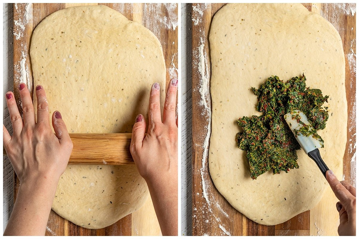 two pictures rolling out bread dough with rolling pin and adding spinach tomato filling on with a spatula