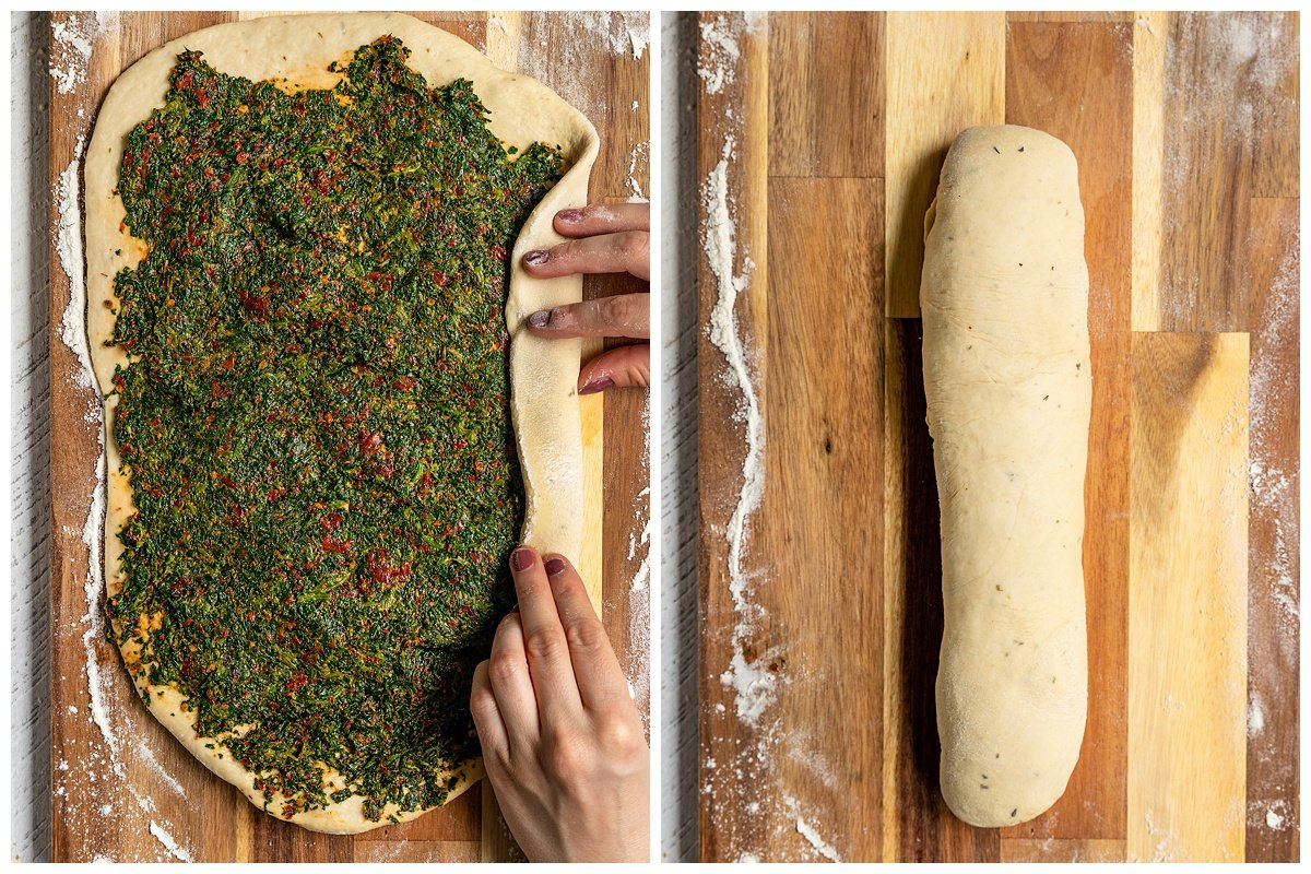 two pictures rolling bread dough with spinach tomato filling into a long log