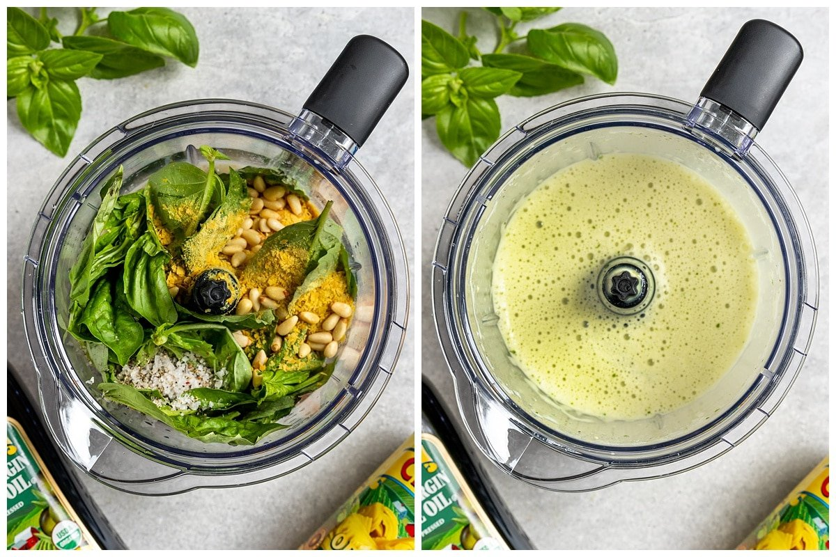two pictures of basil cream sauce ingredients in blender and blended into a smooth green sauce