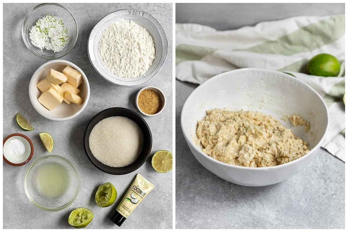 two pictures of coconut lime sugar cookies ingredients and cookie dough in a bowl