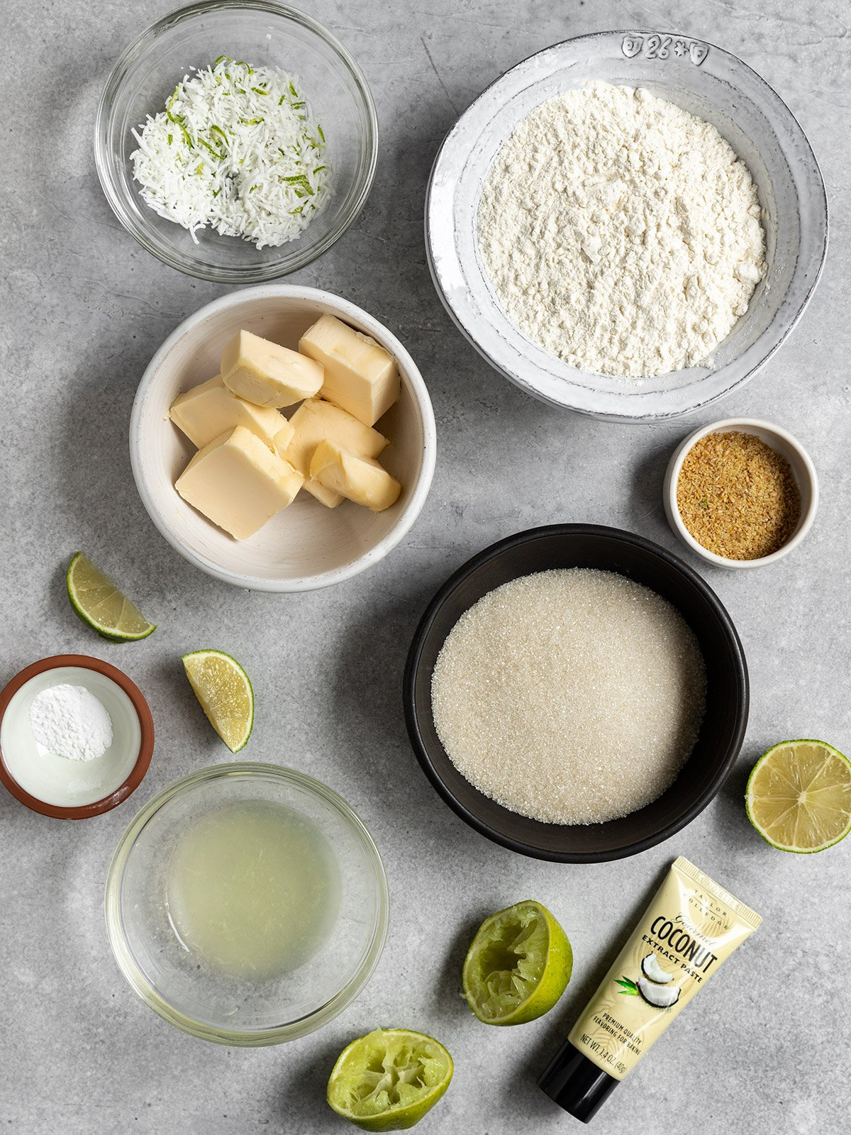 ingredients in bowls for coconut lime cookies