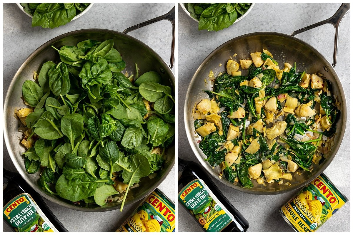 two pictures adding spinach to pan and cooking it with artichokes
