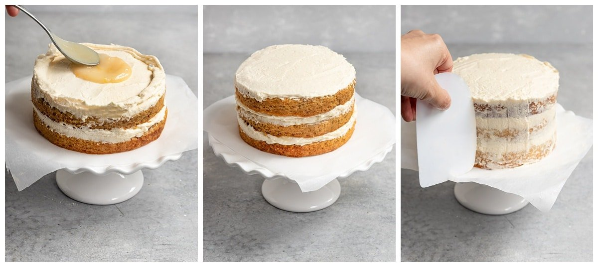 three pictures frosting a three layer lemon cake with frosting and lemon curd