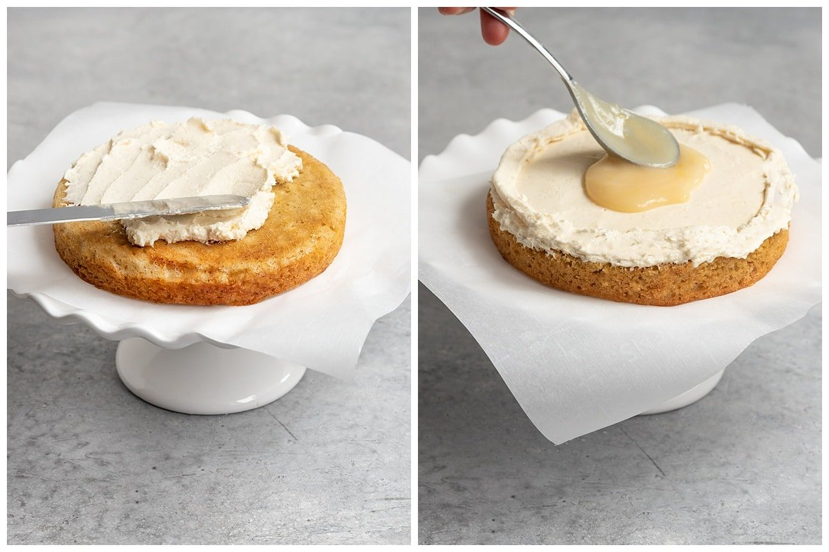 two pictures adding frosting to first layer of cake and spooning on lemon curd