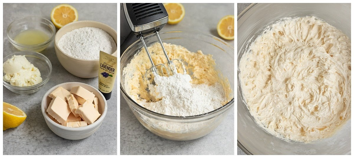 three pictures of frosting ingredients, frosting being whipped, and bowl of lemon lavender frosting