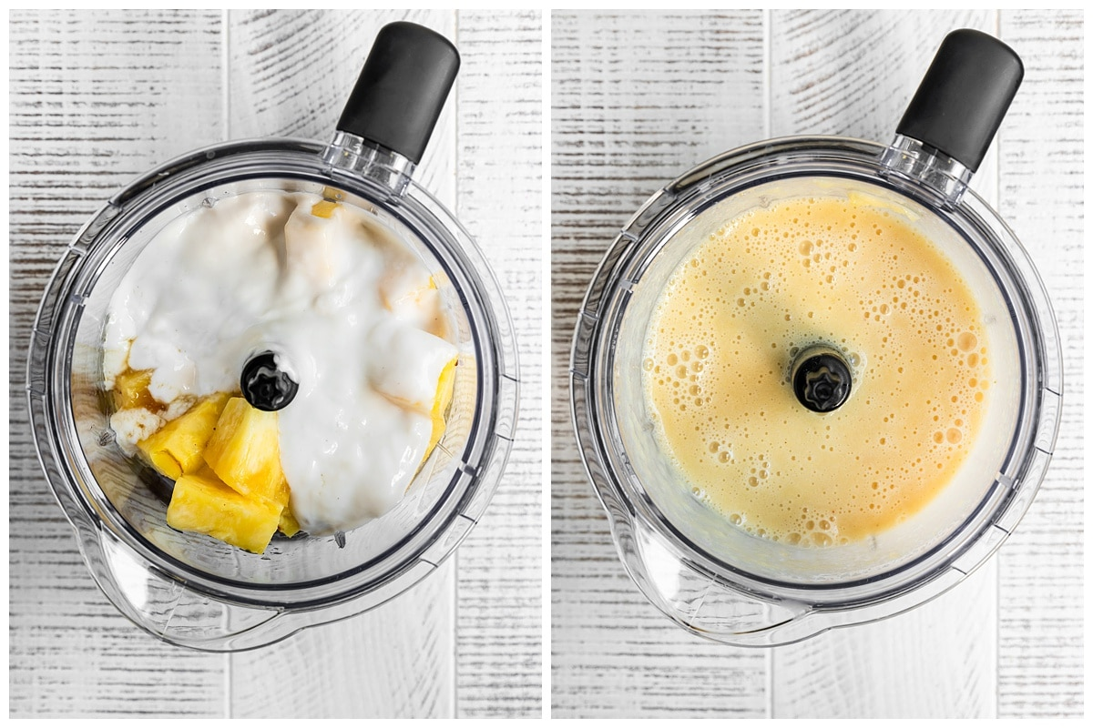 two pictures showing pineapple yogurt mix being blended
