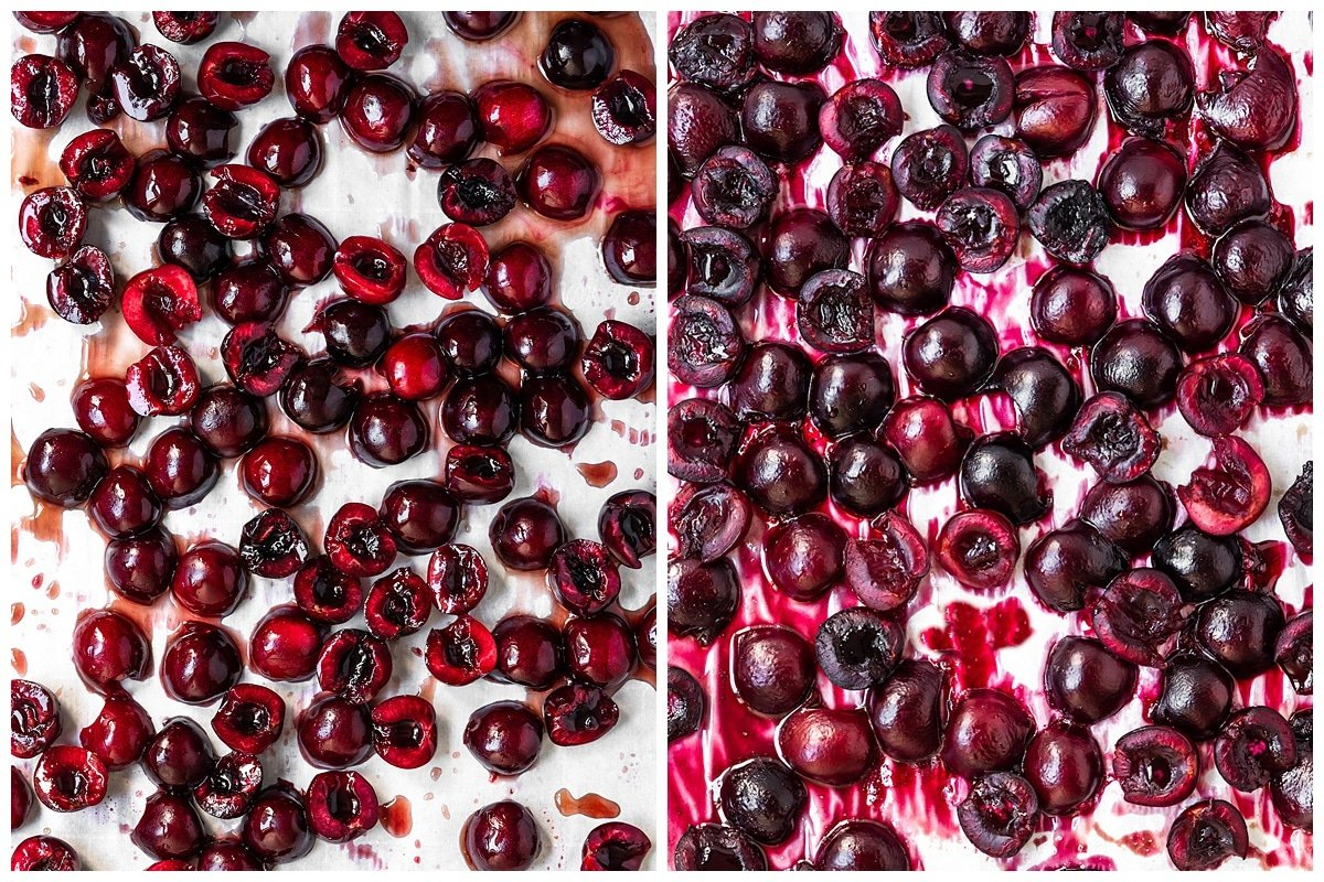 two pictures of roasted cherries before and after being baked on sheet of parchment paper
