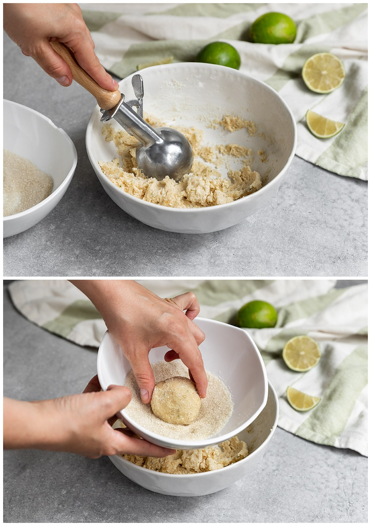 two pictures of cookie dough being scooped with cookie scooper from bowl and rolled into a ball in bowl of sugar