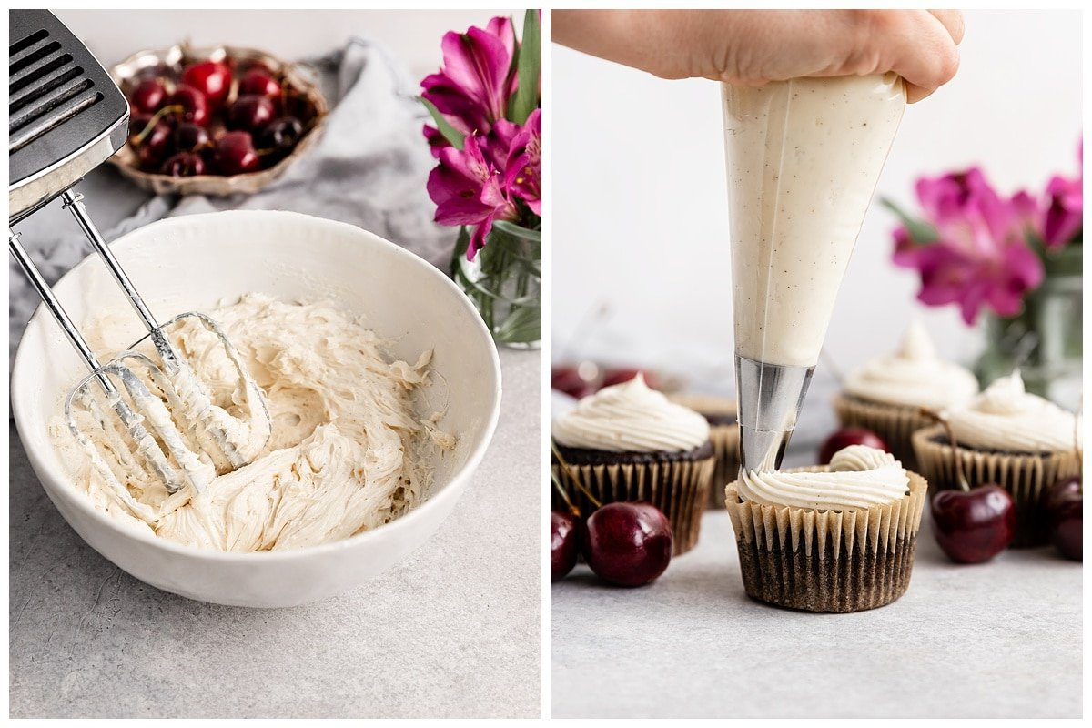 two pictures of whipped vanilla frosting in bowl and frosting being piped onto cherry chocolate cupcake