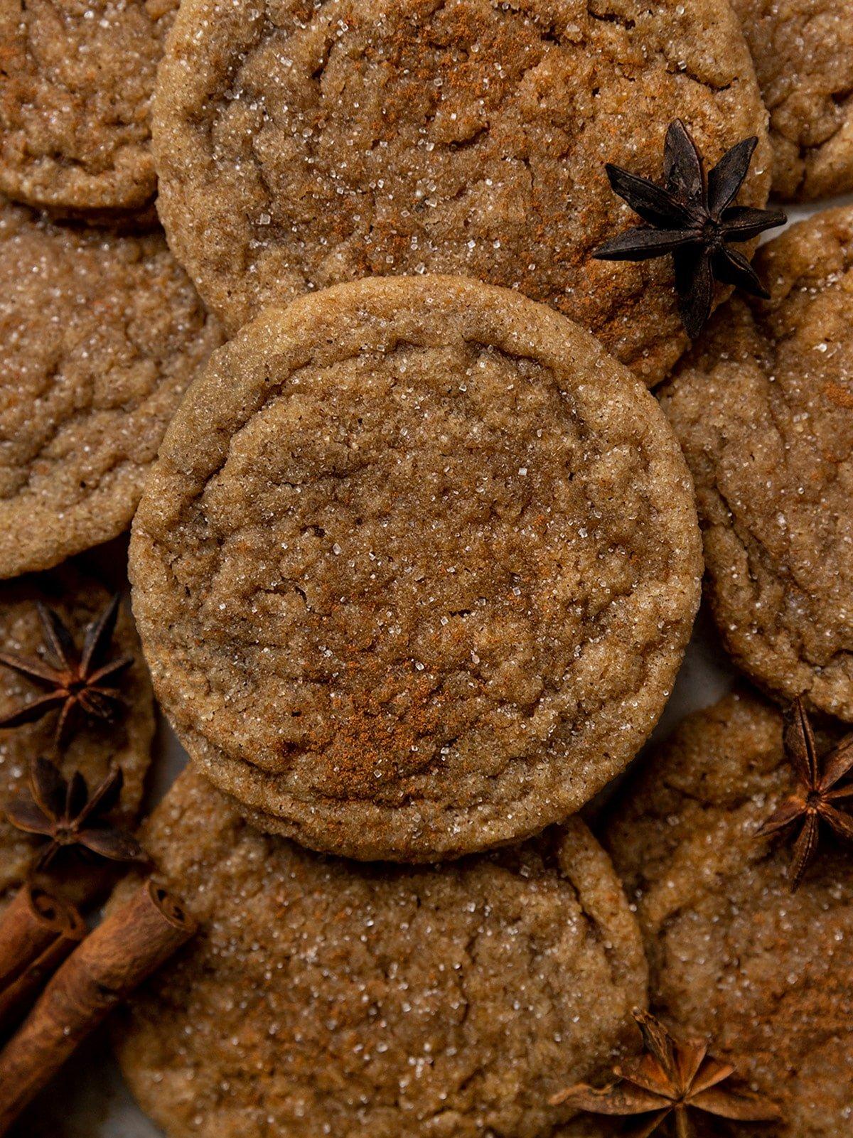 close up shot of brown sugar cookies with cinnamon sugar on top