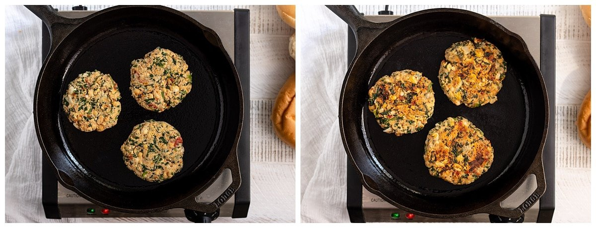 two picture of three chickpea spinach patties being cooked in a cast iron skillet pan