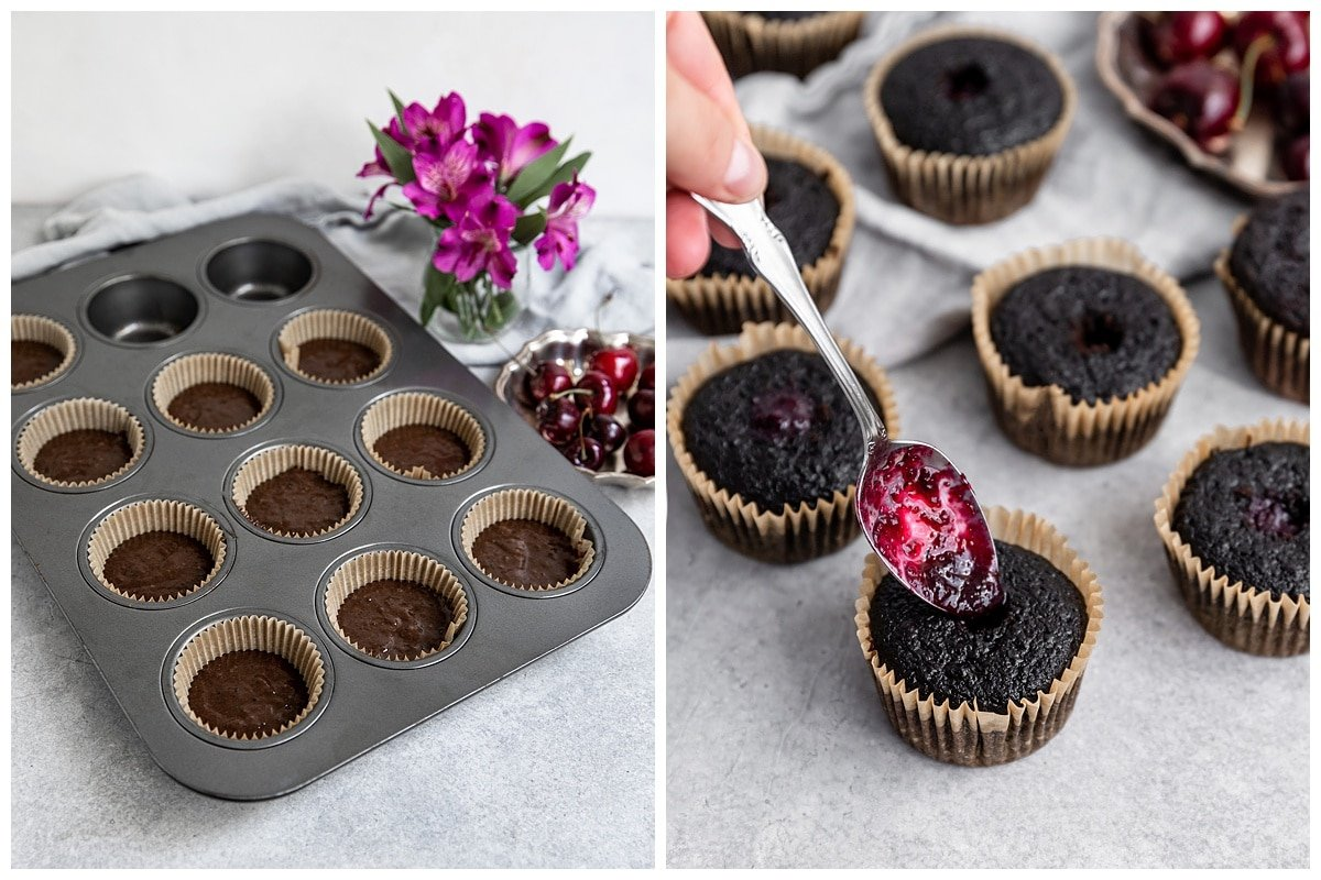 two pictures of cupcake batter in muffin tin before baking and of baking cupcakes getting filled with spoonful of cherry puree