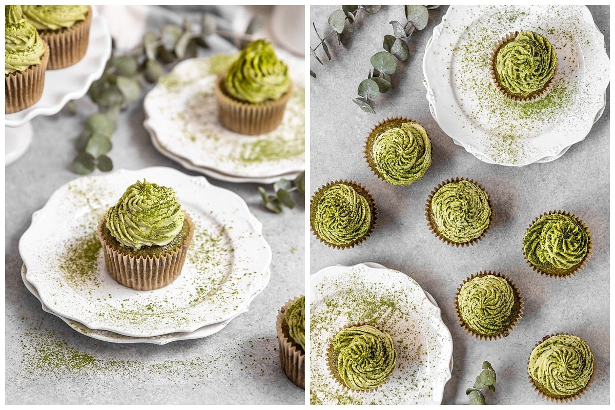 two pictures of matcha cupcakes on white tea plates dusted with matcha powder