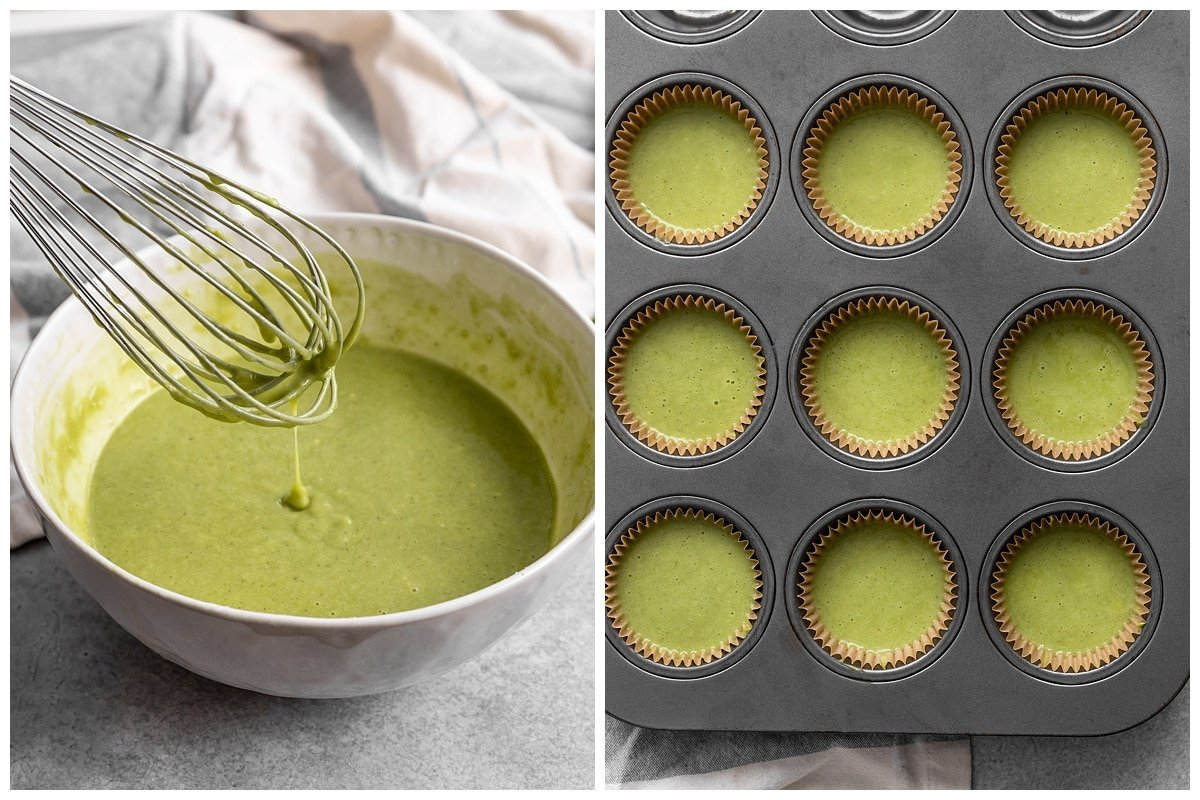 two pictures of matcha cupcake batter in mixing bowl and cupcake batter in cupcake tin