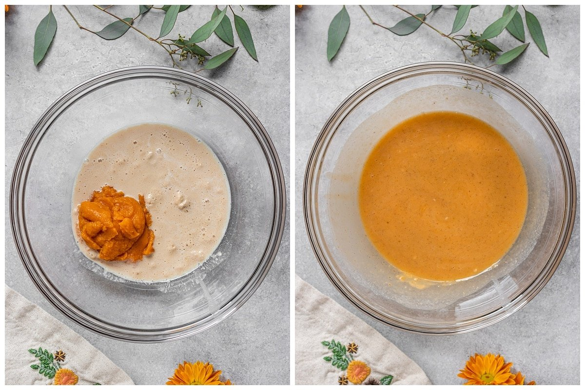 two pictures of liquid ingredients like sweet potato puree and milk added to a bowl and mixed together