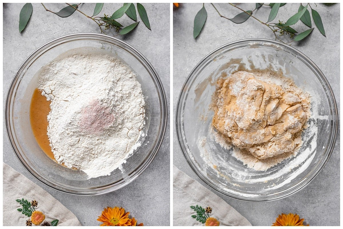 Two pictures of flour and salt added to mixing bowl and mixed with wet ingredients into a dough