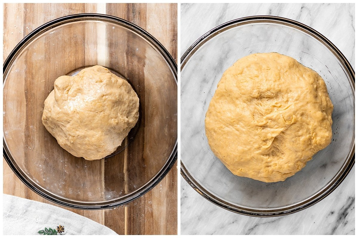 two pictures of bread dough showing the size before and after proofing where it has doubled in size