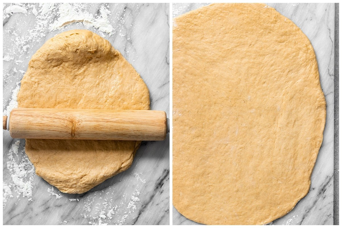 two pictures of rolling pin rolling out sweet potato dough into large rectangle