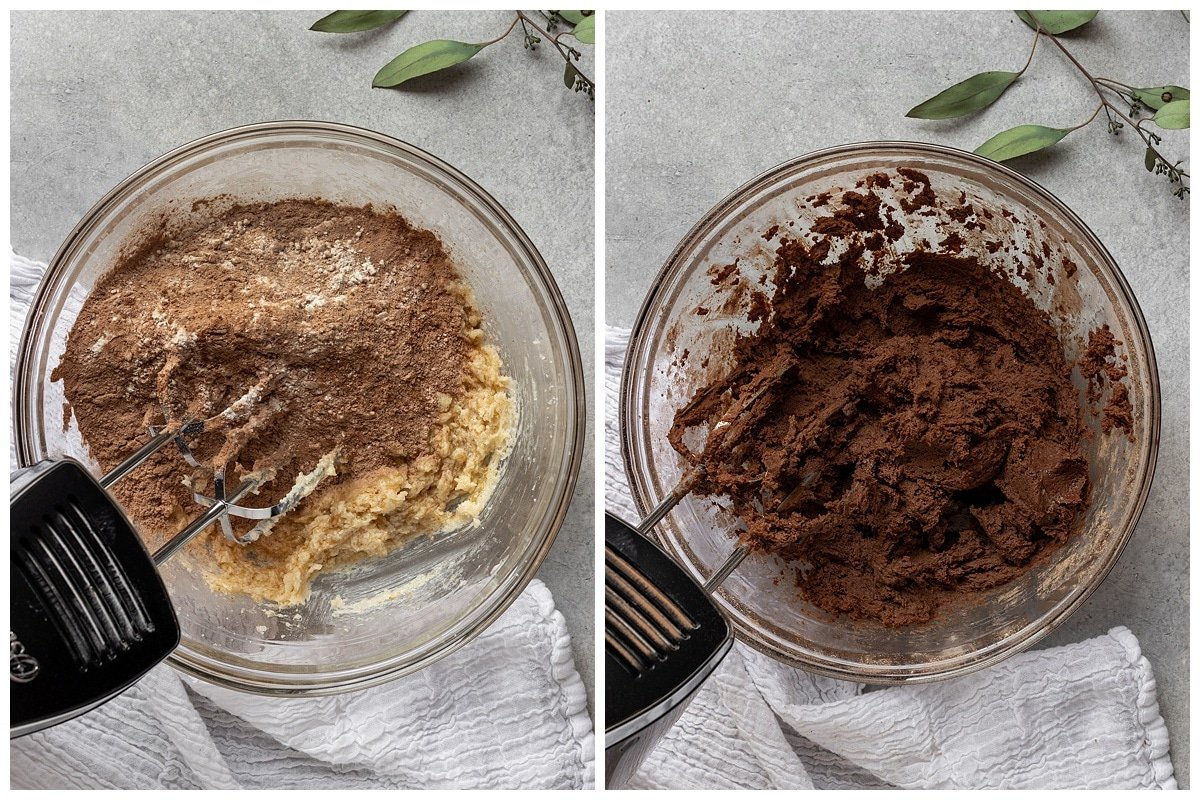 two pictures of dry ingredients added to mixing bowl and a bowl of mixed cookie dough