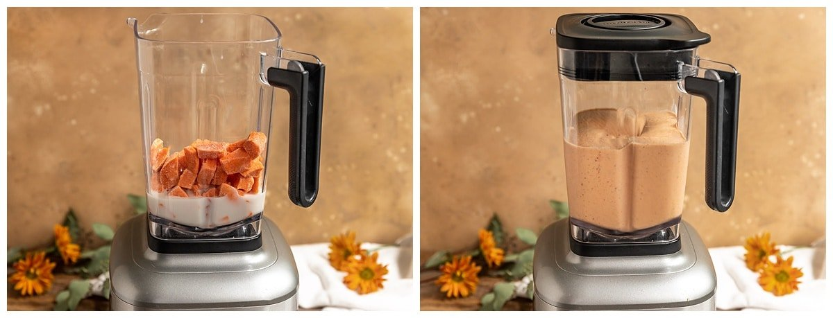 two pictures of smoothie ingredients in blender and the smoothie being blended