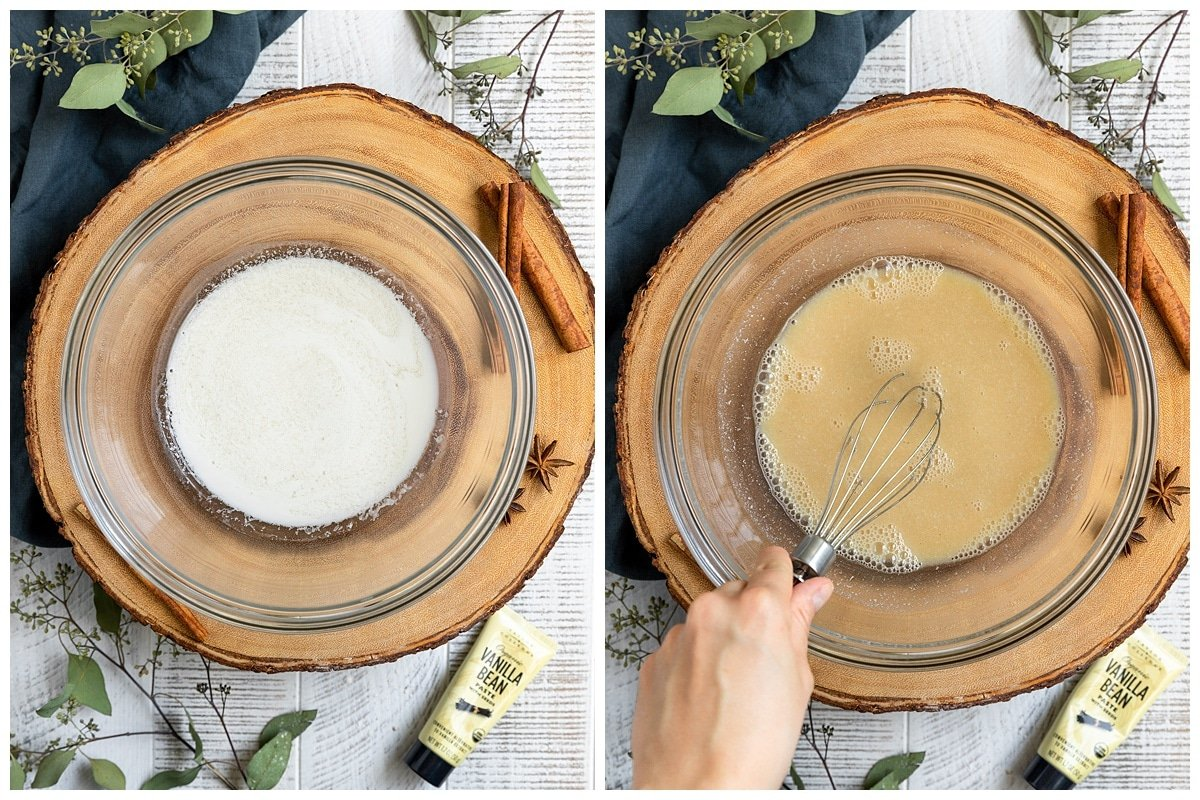 two pictures of mixing bowl, the first with a vegan buttermilk and the second with the rest of the wet ingredients being whisked in